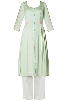Pastel Green Front Open Kurta with Palazzo Pants