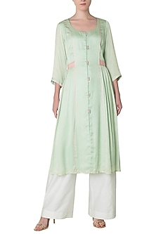 Pastel Green Front Open Kurta with Palazzo Pants by Neha Khanna