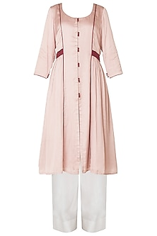 Dusty Pink Front Open Thread Work Kurta with Palazzo Pants
