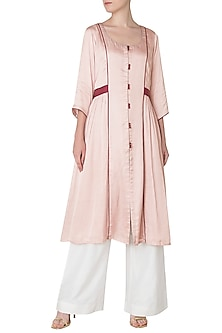 Dusty Pink Front Open Thread Work Kurta with Palazzo Pants by Neha Khanna