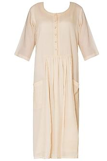 Ivory Patch Pocket Knee Length Dress by Neha Khanna