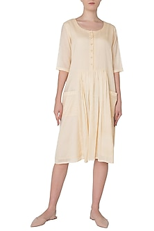 Ivory Patch Pocket Knee Length Dress by Neha Khanna