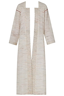 Ivory Front Open Embroidered Jacket by Neha Khanna