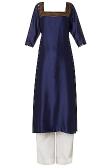 Navy Blue Embroidered Kurta with Palazzo Pants