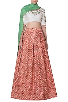 Multi Color Embroidered Lehenga Set by Neha Khanna