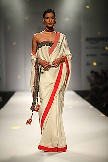 Ivory Katha and Bead Embroidered Border Saree with Ivory Khadi Ruffled Blouse