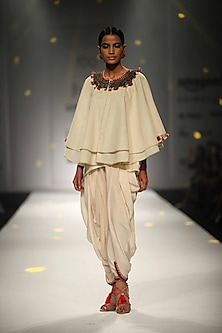 Ivory Embroidered Double Layer Cape with Cowl Dhoti and Cami Top
