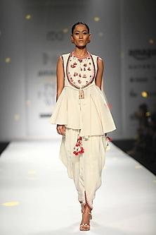 Ivory Horse Shoe Yoke Embroidered Jacket with Cowl Dhoti