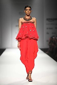 Kasum Red Embroidered Tube Kali Top with Cowl Dhoti Pants by Nikasha
