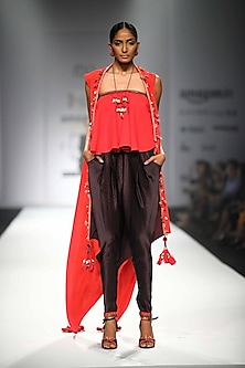 Red Embroidered Kali Tube Top with Black Overjacket and Printed Jodhpuri Pants