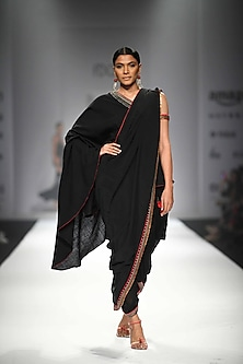 Black One Off Shoulder Long Asymmetric Blouse with Attached Palla with Black Dhoti Pants