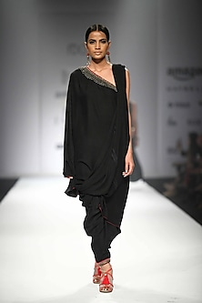 Black Draped Asymmetric Tunic with Matching Dhoti Pants by Nikasha