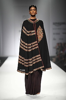 Black Embroidered Long Cape with Jersey Top and Printed Sharara Pants
