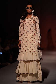 Lilly Ivory Floral Print Tunic and Khadi Skirt Set by Nikasha