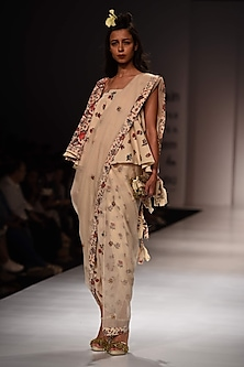 Lilly Ivory One Shoulder Top with Dhoti Pants and Kota Doria Dupatta by Nikasha