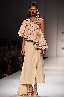 Lilly Ivory Printed One Shoulder Top with Khadi Skirt