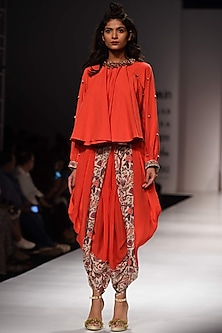 Lilly Red Peasant Top and Dhoti Pants Set by Nikasha