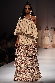 Lilly Printed One Shoulder Top with Khadi Tiered Skirt