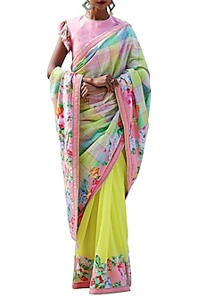 Lime Green Embroidered Printed Saree Set by Nikasha
