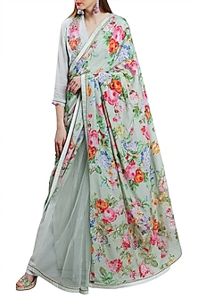 Mint Green Embroidered Printed Saree Set by Nikasha