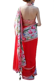 Red Embroidered Printed Saree Set by Nikasha