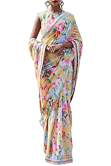 Ochre Yellow Embroidered Printed Saree Set by Nikasha