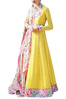 Yellow Embroidered Printed Kalidar Anarkali Set by Nikasha