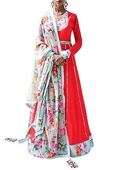 Red Embroidered Printed Kalidar Anarkali Set by Nikasha