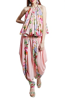 Soft Pink Printed Halter Neck Top With Dhoti Pants by Nikasha