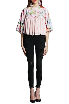 Soft Pink Embroidered Printed Top by Nikasha