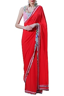 Red Embroidered Checkered Saree Set by Nikasha
