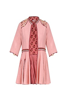 Pink Thread Embroidered Front Open Jacket