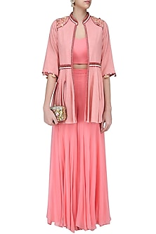 Pink Thread Embroidered Front Open Jacket by Nikasha