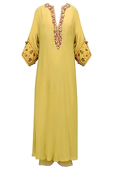 Yellow Thread, Sequins and Beads Work Tunic and Pants Set by Nikasha