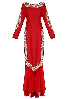 Red Embroidered U Hem Kurta with Double Layer Shararas and Ochre Dupatta by Nikasha