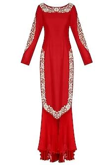 Red Embroidered U Hem Kurta with Double Layer Shararas and Ochre Dupatta by Nikasha