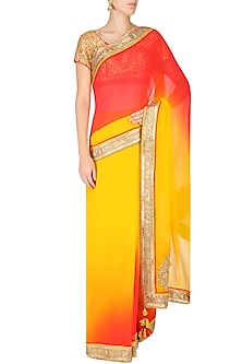 Red and Mustard Ombre Saree with Red Fully Embroidered Blouse by Nikasha