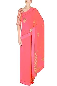 Pink Book End Embroidered Saree with Red Fully Embellished Blouse by Nikasha