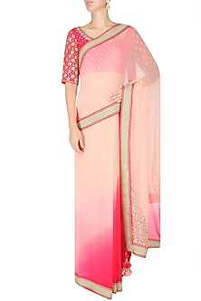 Peach and Pink Ombre Saree with Fuchsia Embroidered Blouse by Nikasha