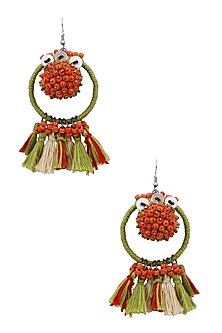 Green and Red Beadwork Hoop Earrings by Nikasha
