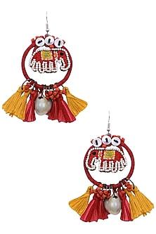 Red and Yellow Elephant Beadwork Hoop Earrings by Nikasha