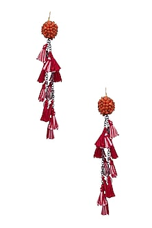 Red, Pink and Yellow Beadwork and Tassel Fringe Fish Hook Earrings by Nikasha