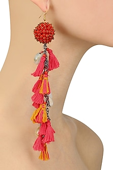 Red and Pink Beadwork and Tassel Fringe Fish Hook Earrings