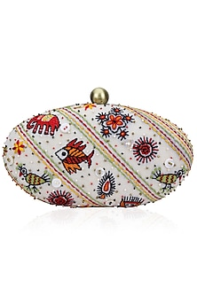 White Animal Motifs Embroidered Clutch by Nikasha