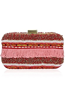 Pink Thread and Beads Embroidered Rectangular Box Clutch by Nikasha