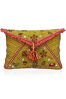 Mustard Yellow Thread and Beads Embroidered Flapover Clutch by Nikasha