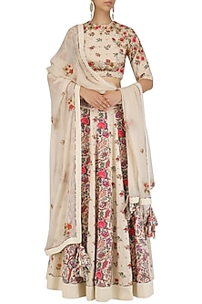 Off White Embroidered Floral Print Lehenga Set?????????  by Nikasha