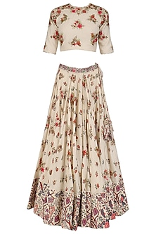 Off White Embroidered Blouse and Lehenga Set by Nikasha