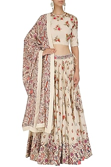 Off White Embroidered Blouse and Lehenga Set by Nikasha