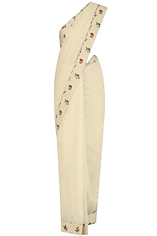 Off White Floral Printed Jaal Saree with Off White Chintz Blouse